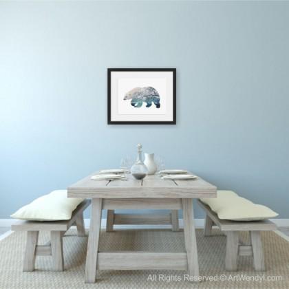 """Framed Art Print """"Polar Bear with a Winter Scene"""""""