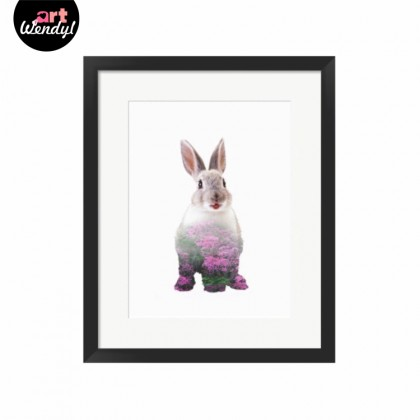 """Framed Art Print """"Rabbit with a Purple Floral Scene"""""""