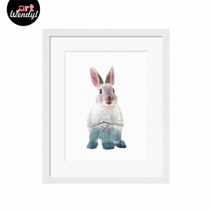 "Framed Art Print ""Rabbit with a Winter Scene"""
