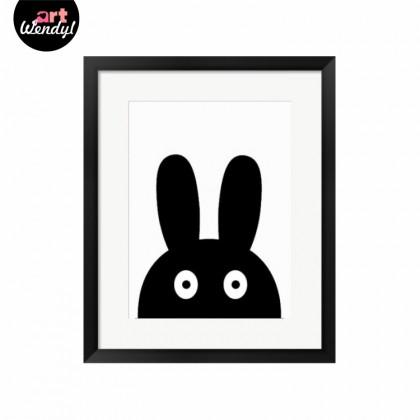 "Framed Art Print ""Peeping Rabbit"""