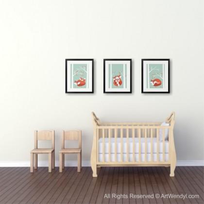 "Framed Art Print ""Snuggling Foxes II"""