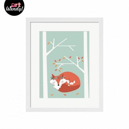 "Framed Art Print ""Snuggling Foxes III"""