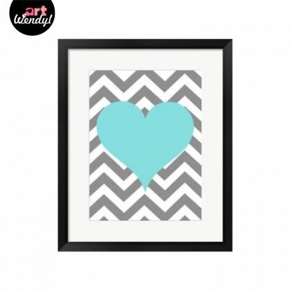 """Framed Art Print """"Blue Heart"""""""