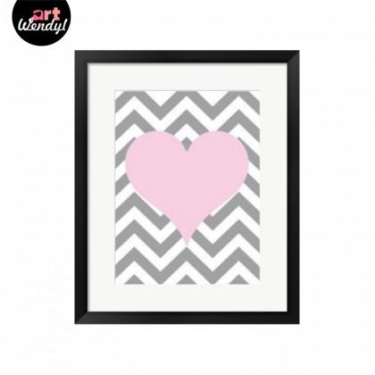 """Framed Art Print """"Pink Heart"""""""