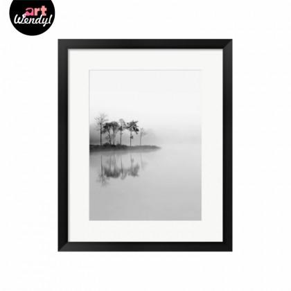 """Framed Art Print """"Misty Lake View"""""""