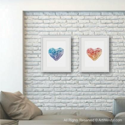 """Framed Art Print """"Blue Heart Graphic"""""""