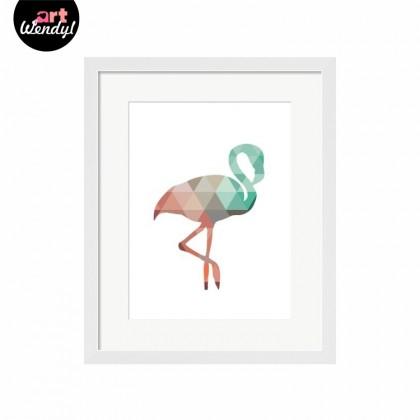 "Framed Art Print ""Geometric Flamingo"""