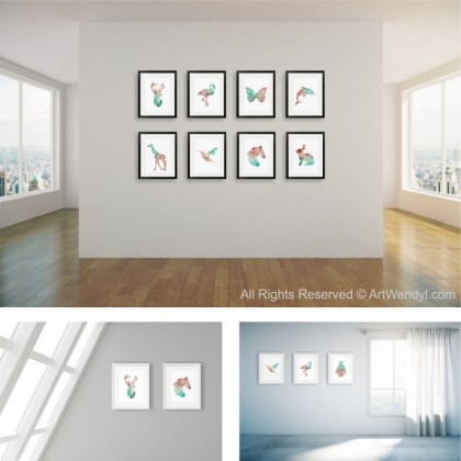 "Framed Art Print ""Geometric Giraffe"""