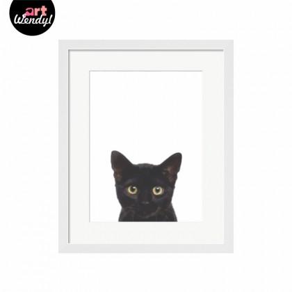 """Framed Art Print """"Black Cat"""""""