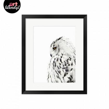 """Framed Art Print """"White Owl"""""""