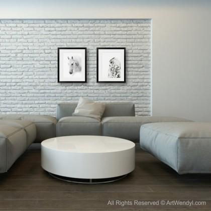 """Framed Art Print """"White Horse"""""""