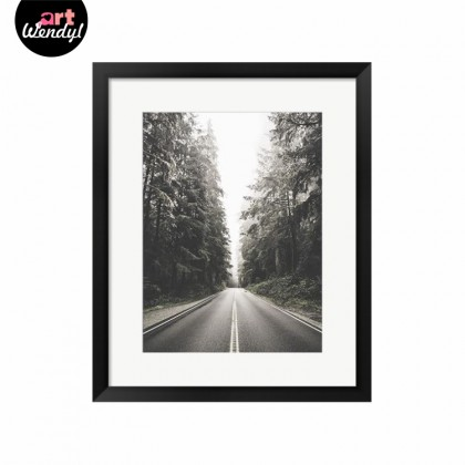 """Framed Art Print """"A Long Road Into The Forest"""""""