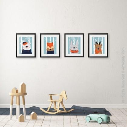 "Framed Art Print ""Winter Reindeer"""